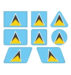 Buttons with flag of saint lucia vector