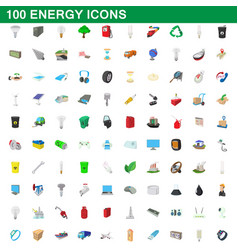 100 energy icons set cartoon style vector