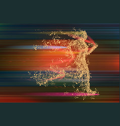 running woman particle divergent silhouette on vector image