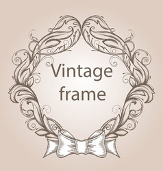Vintage border frame engraving with retro ornament vector