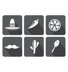Mexico icons set on white background vector
