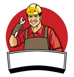 Worker wearing a hard hat and hold the wrench vector