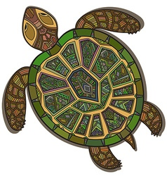 Decorative ornamental turtle with sign colorful vector
