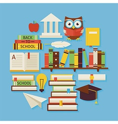 Books education and knowledge flat design circle vector