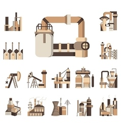 Industrial objects flat color icons vector