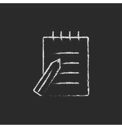 Writing pad and pen icon drawn in chalk vector