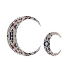 Low poly letter c in brown mosaic polygon vector