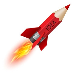 Red pencil as flying rocket vector