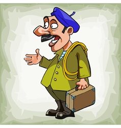 Cartoon man plumber in a beret with a suitcase vector