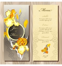 Iris flower wedding menu card vector