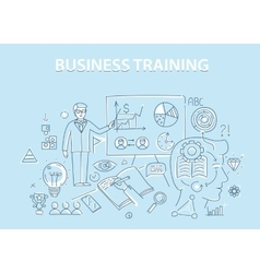 Line style design concept of business training and vector