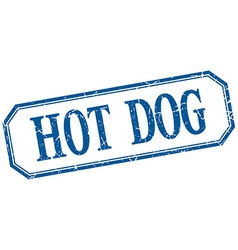Hot dog square blue grunge vintage isolated label vector