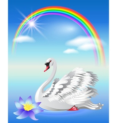 Magic rainbow swan vector