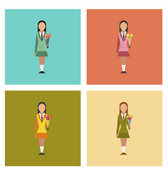 Assembly flat icons schoolgirl flowers vector