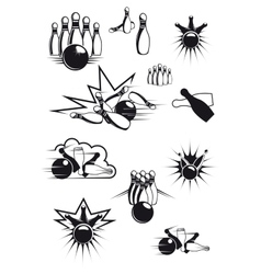 Black and white comic bowling balls and ninepins vector image vector image