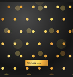 black background with golden polka dots vector image vector image