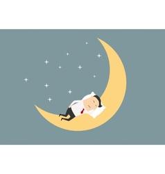 Cartoon businessman sleeping on the moon vector