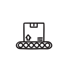 conveyor belt for parcels sketch icon vector image vector image