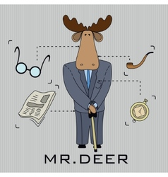 Deer in a suit with a cane vector image