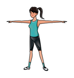 Drawing sport girl arms fitness vector