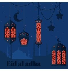 Eid al adha muslim feast of the sacrifice arabian vector
