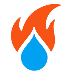 fired water drop flat icon vector image