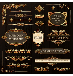 Golden Calligraphic Design Elements vector image vector image