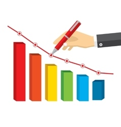 Hand wirh red pen drawing a negative growth vector image vector image