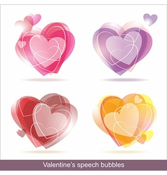 Hearts speech bubbles vector image vector image