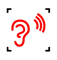 Human ear sign red icon inside black vector