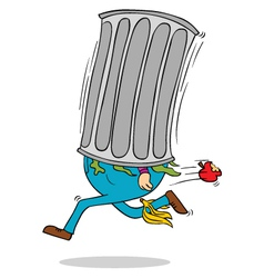 Man in trash bin vector image vector image