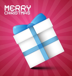 Merry Christmas Paper Gift Box with Blue Ribbon on vector image vector image