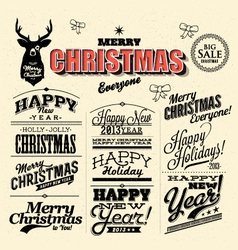 Merry christmas sign and symbols decoration vector