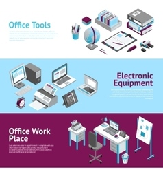 Office work place isometric banners set vector