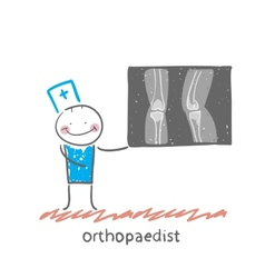 Orthopaedist shows an x-ray vector