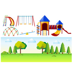 park scene with many play stations vector image vector image