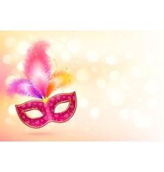 Pink carnival mask with colorful feathers banner vector