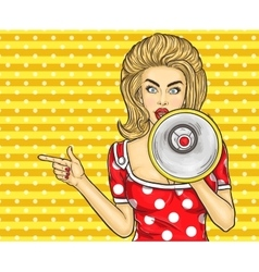 Pop art girl with megaphone vector