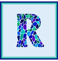 R - letter - green watercolor mosaic vector