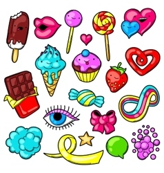 Set of kawaii sweets and candies crazy sweet vector