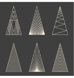 Set of linear graphic stylized christmas trees vector