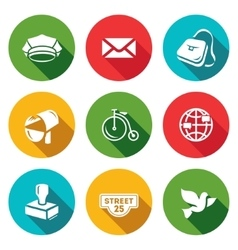 Set of Post Office Icons Postman Letter vector image vector image