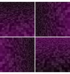 Set purple square mosaic background vector