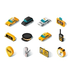 Taxi isometric icons set vector