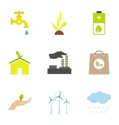 Types of energy icons set flat style vector