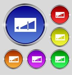 Volume adjustment icon sign round symbol on bright vector