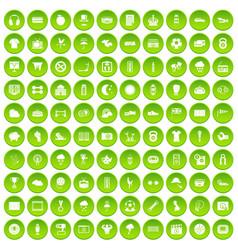 100 soccer icons set green circle vector