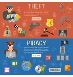 Piracy and Theft Banners vector image