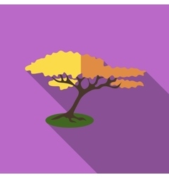 Tree with fluffy crown icon flat style vector