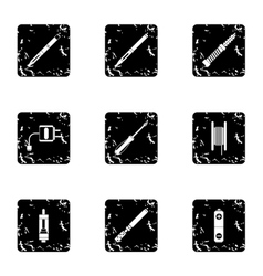 Electronic cigarette icons set grunge style vector